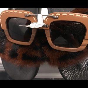 100% AUTHENTIC Rare  Leather PRADA Sunglasses